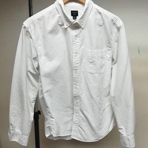 J. Crew Men's white long sleeve button down shirt